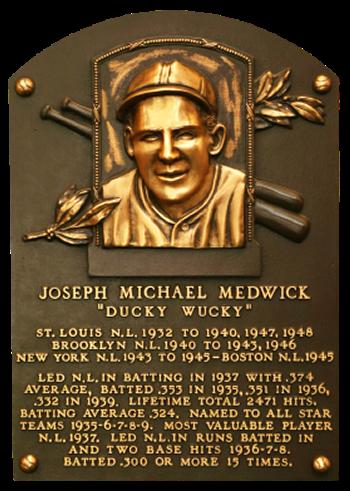 Joe Medwick Hall of Fame Plaque